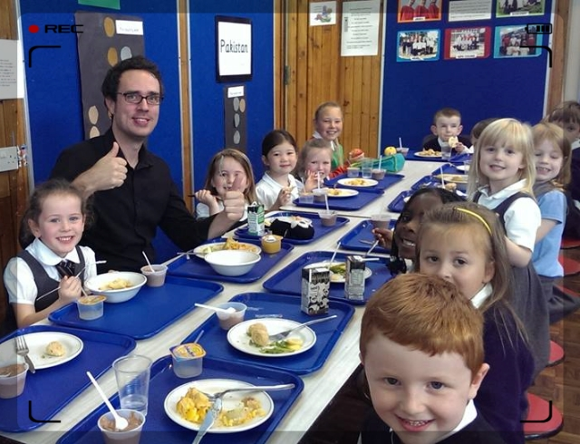 Mr Grieve gives our lunches a thumbs up!